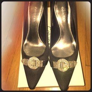 Calvin Klein Lacey Satin Black Pumps w/ Rhinestone
